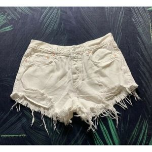 we the free Distressed White  CutOff Shorts - 27.